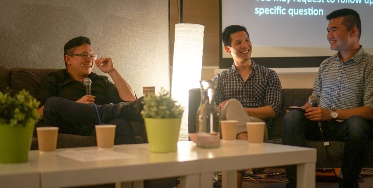 Interviewing Q&A Panelists Andrew Lim and Justin Fung at SPUR's final event for the year