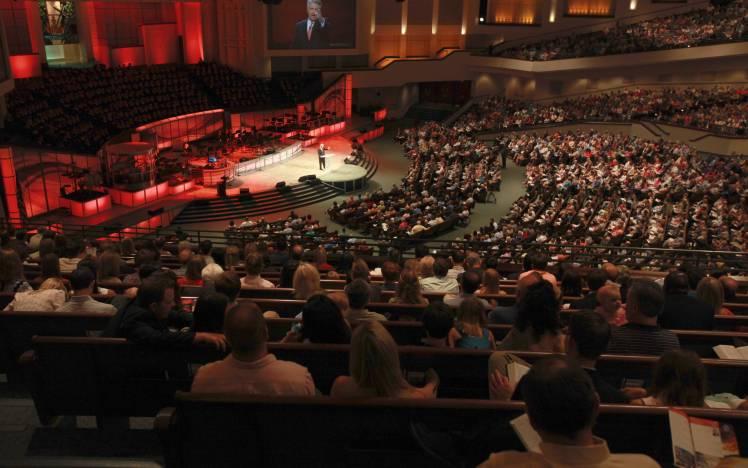 Prestonwood Baptist Church - Pastor Jack Graham speaking in an auditorium of 7000 people.