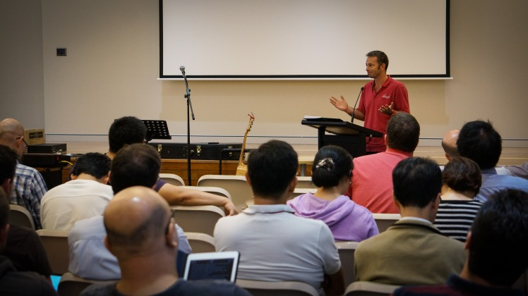 Reverend Jeff Read preaching to our student body during one of our weekly chapels
